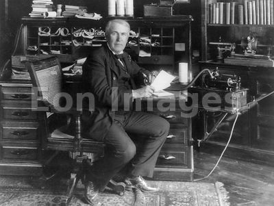 Thomas Edison with inventions in 1913