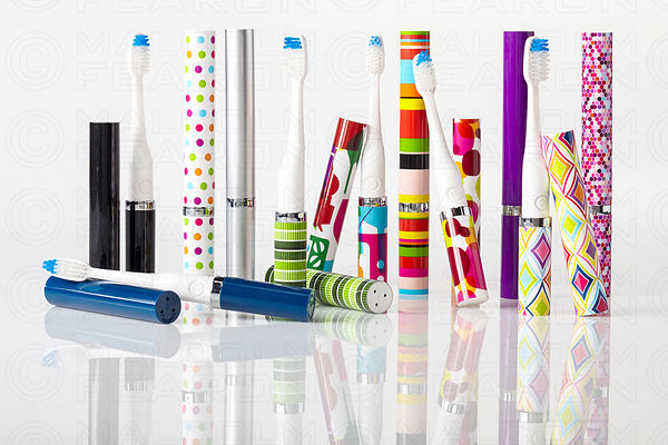 group of travel toothbrushes