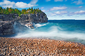 Surf at lake - North America, Canada, Ontario, Bruce, Bruce Peninsula, Bruce Trail - digital