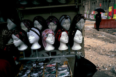 Wigs for sale in the Ultra Orthadox Jewish ghetto of Meir Sharim. Jerusalem, Israel.