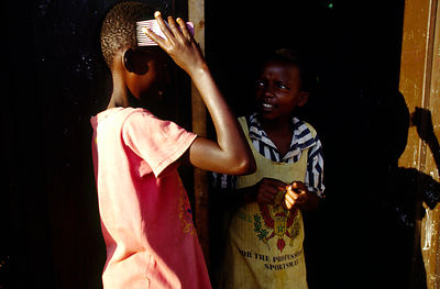 Burundi - Ruyigi - Two orphans at Shalom House in the early morning