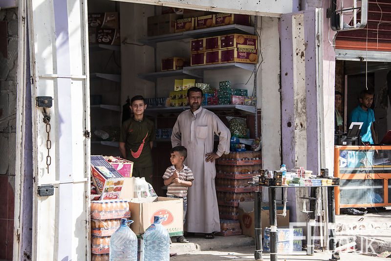 Families are reopening their shops for business in recently liberated parts of West Mosul. Iraq, 5th June 2017