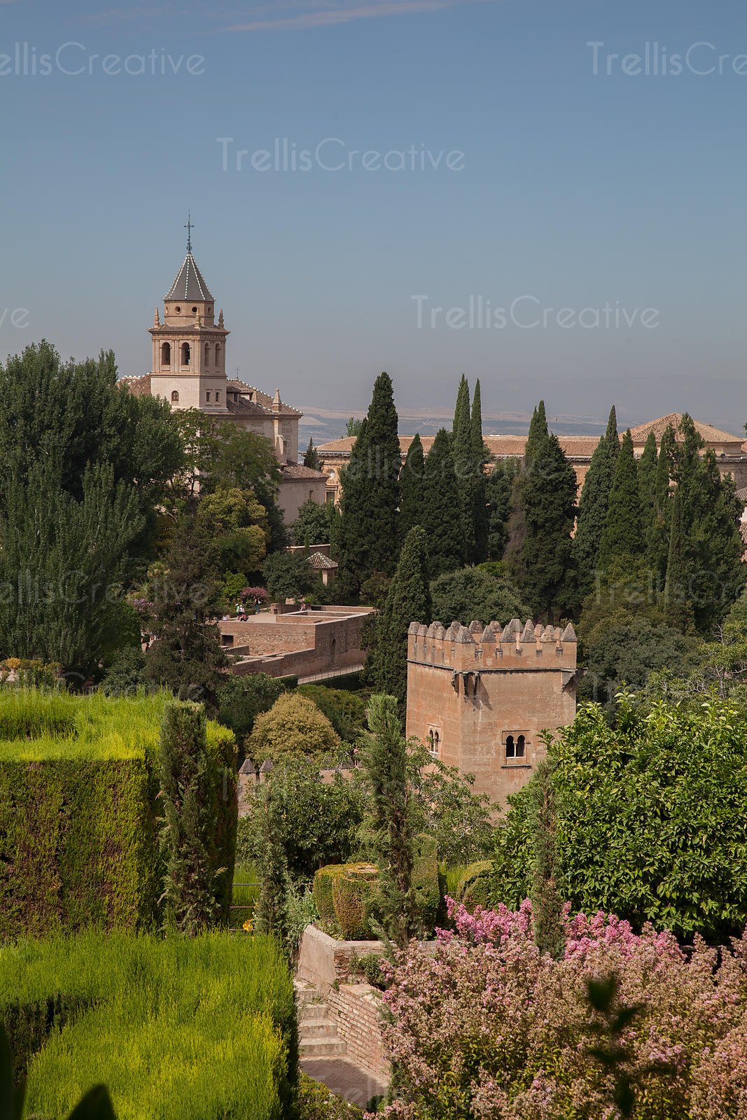View over the gardens and Church of Santa Maria de la Alhambra