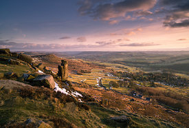 Curbar Edge spring equinox sunset