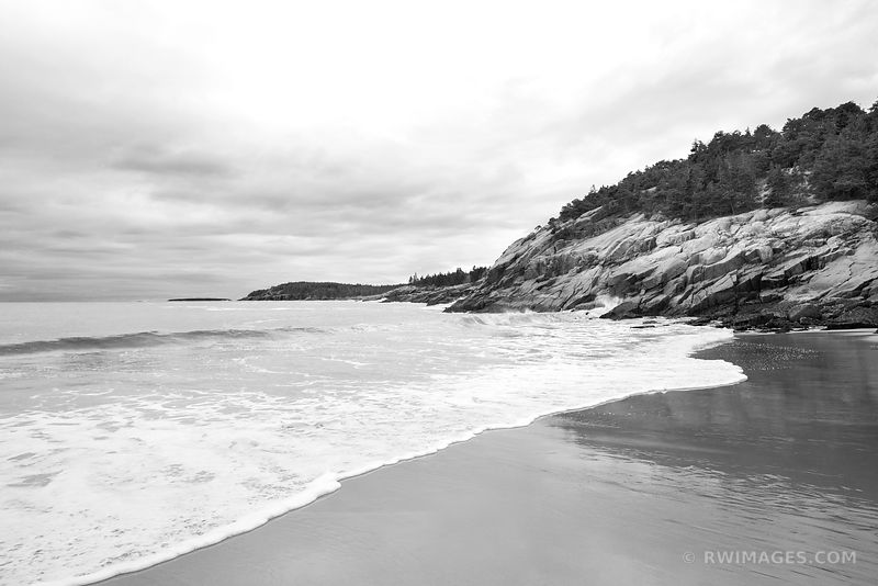 SAND BEACH ACADIA NATIONAL PARK MAINE BLACK AND WHITE