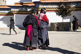 Women at the Palcho Monastery or Pelkor Chode Monastery or Shekar Gyantse in Gyantse, Tibet.