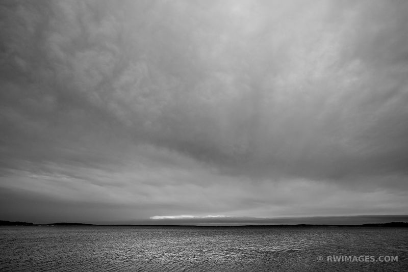 SUNSET CLOUDS NOYAC BAY SAG HARBOR NORTH HAVEN LONG ISLAND NY BLACK AND WHITE