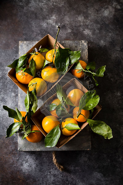Tangerines with stem and leaves