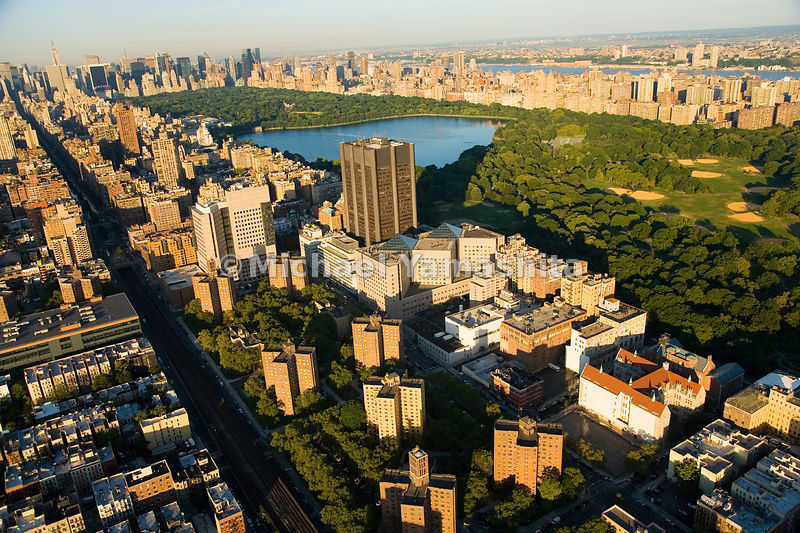 Many patients at the Mount Sinai Hospital Medical Center, at the northwest corner of Central Park, have the benefit of a soothing view of the park and the reservoir.  Manhattan, New York City.