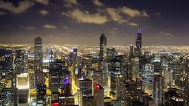 Bird's Eye: A Vast Shot Of Chicago's Skyline With The Sear's Tower, Trump Tower, & Aeon Center