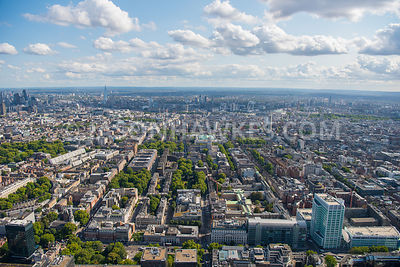 Aerial view of University College London, Bloomsbury, Fitzrovia, Fitzroy Square Garden, Gordon Square, Tavistock Square, Russell Square Gardens, London.