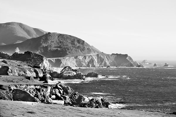 BIXBY BRIDGE AREA BIG SUR CALIFORNIA BLACK AND WHITE