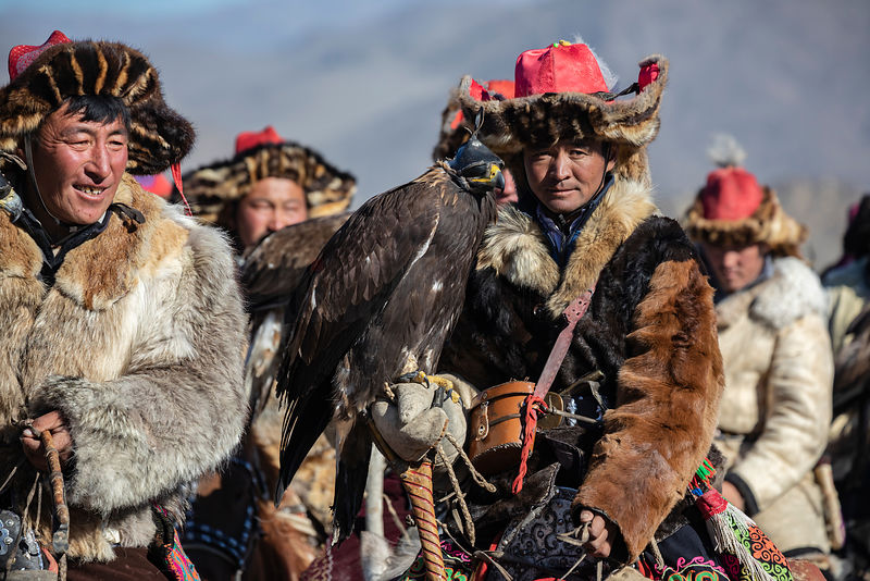 A Procession of Golden Eagle Hunters