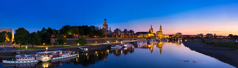 Dresden historic skyline and Elbe river at dusk, Saxony, Germany
