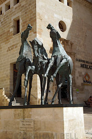 Tre Cavalli by Nag Arnoldi besides Eglesia Del Carme church, Mahon/Mao, Menorca, Balearic Islands, Spain.