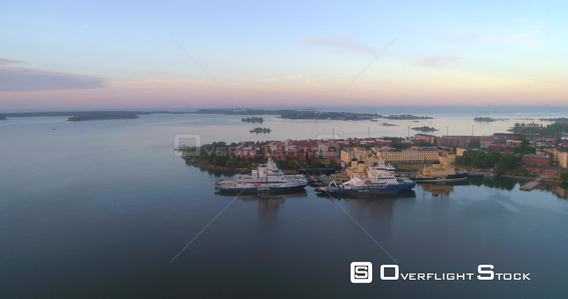Ice Breakers, Aerialview Towards Icebreakers at Katajanokka Bay, on a Sunny Summer Morning Dawn, in Helsinki, Uusimaa, Finland
