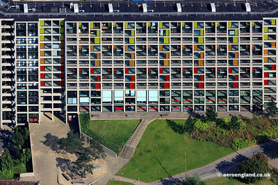 aerial photograph of the redeveloped Park Hill flats in Sheffield West Yorkshire England UK.