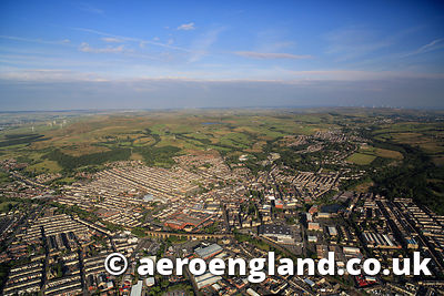 aerial photograph of Accrington   England UK
