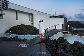 Bathers at the Blue Lagoon, a geothermal spa in Reykjavik, southwestern Iceland.