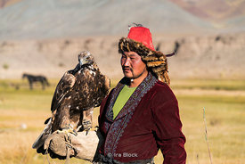 A Kazakh eagle hunter near the village of Bayan in western Mongolia.