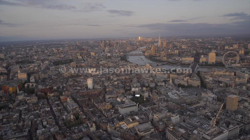 Aerial footage across the West End of London