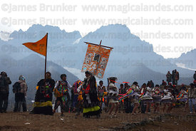 Dancers on hillside during Qoyllur Riti festival, Peru