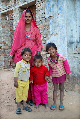 Farming family of the Cheeta caste in Kharekhari village, Rajasthan, India.