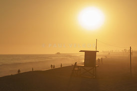 Lifeguard Tower M Sunset Photo in Newport Beach CA