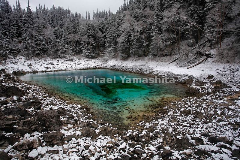 Celestial forces gave Five Colored Pond its hues, according to legend. Here the Tibetan goddess Semo stopped to wash her face, and her cosmetics forever pigmented this pool.