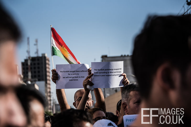 Kurds displaced from Kirkuk by the ongoing conflict, between Iraq allied with Iranian backed Militia group Hashd al Shaabi and the semi autonomous Kurdistan region, protest outside the US Embassy in Erbil. They are asking where the international community was and why it didn't help them to keep Kirkuk. Erbil, Iraq