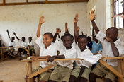 Children in a classroom at a rural school in Kenya.