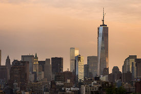 Lower Manhattan at dusk and One World Trade Center (The Freedom Tower)