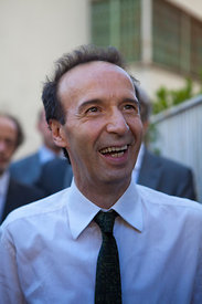 Roberto Benigni on set of The Bop Decameron in Rome.