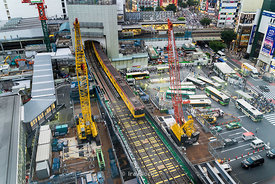 Construction site at Shibuya Station in Tokyo, Japan.