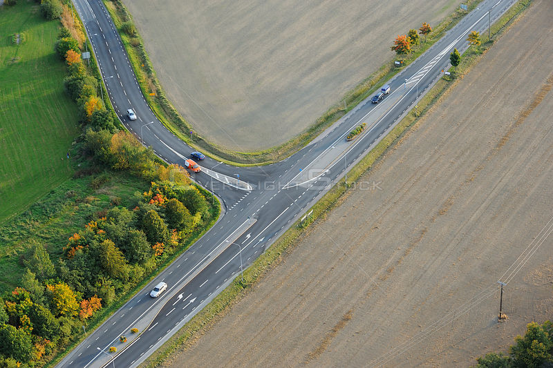 Aerial view of a road, near Sollentuna a suburb of Stockholm, Uppland, Sweden, September 2008