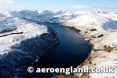 aerial photograph of Haweswater reservoir in the Lake District Cumbria England UK