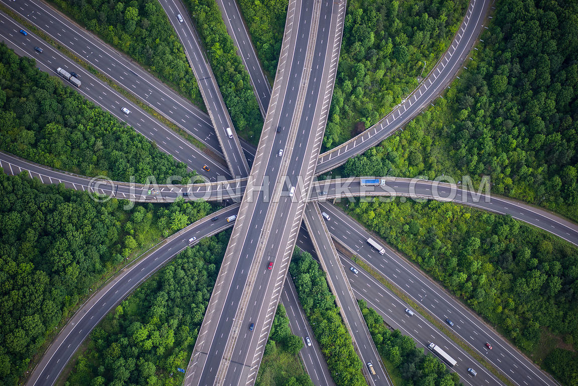 Aerial view of motorway / highway. Junction, Connection.