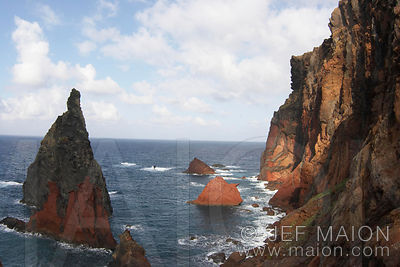 Pinnacles and cliffs on the sea