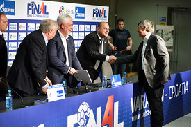 Siniša OSTOJIĆ, Michael WIEDERER, Alexander MESHKOV, Mihajlo MIHAJLOVSKI during the Final Tournament - Final Four - SEHA - Gazprom league, Sponsorship press conference, Croatia, 02.04.2016, ..Mandatory Credit ©SEHA/Nebojša Tejić