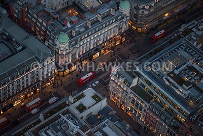Aerial view of London Regent Street and New Burlington Street.