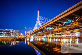 Zakim Bunker Hill Bridge at Night Photo