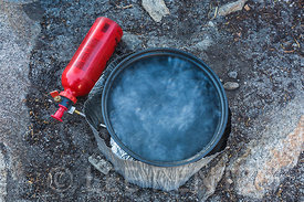 Boiling Water for Coffee and Breakfast in the Desolation Wilderness