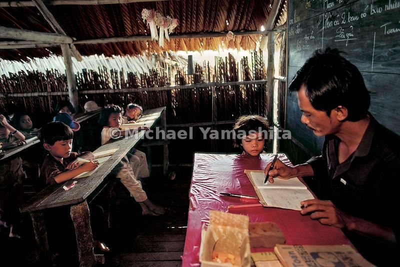 There's no escaping the teacher's attention in a one-room schoolhouse in the Mekong Delta.