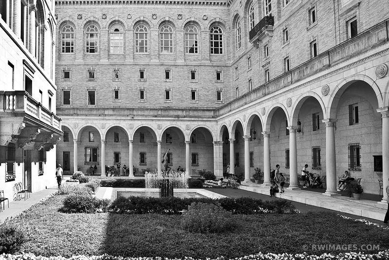 BOSTON PUBLIC LIBRARY COURTYARD BOSTON BLACK AND WHITE