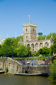 Ruins of St Peters Church, River Avon and Castle Park, Bristol.