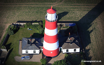 aerial photograph of Happisburgh Lighthouse, Norfolk England UK.