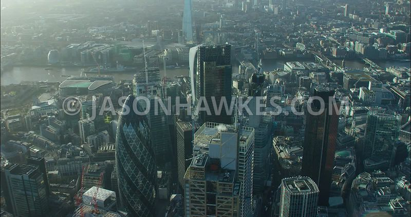 London Aerial footage, City of London with 30 St Mary's Axe towards 20 Fenchurch Street.