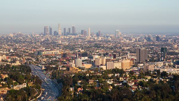 Bird's Eye: Highway 101, Hollywood, Capitol Records & Downtown L.A. Skyline