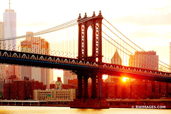 MANHATTAN BRIDGE NEW YORK CITY SKYLINE SUNSET