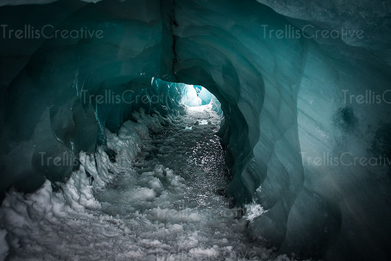 The entrance to a dangerous melting ice cave in Iceland